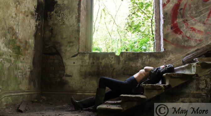 derelict mansion staircase woman